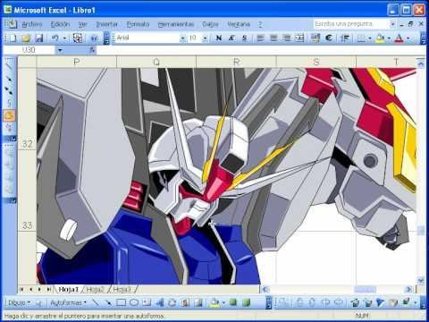 Excelのオートシェイプで描くガンダムが凄すぎる!